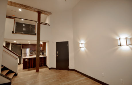Interior view of a multi-level loft apartment at Factory 88 downtown, Lynchburg VA