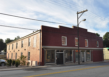 Exterior of building for the loft apartments at Factory 88 downtown, Lynchburg Virginia